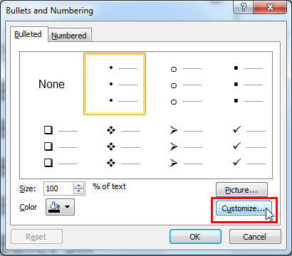 Bullet options within the Bullets and Numbering dialog box