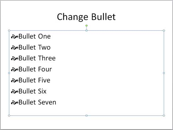 Bullets changed to a customized symbol