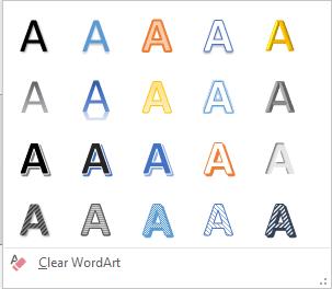 WordArt Styles drop-down gallery