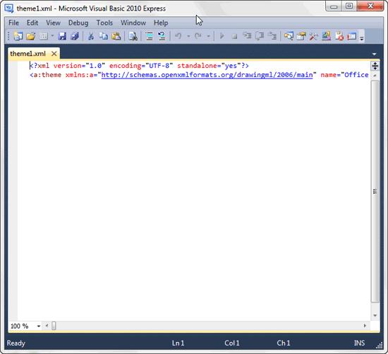 Selected XML file opened within Visual Basic Express