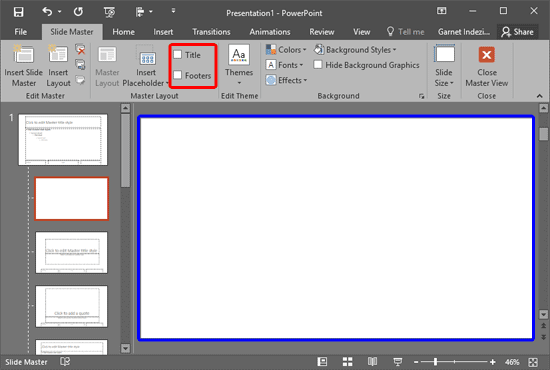 Title and Footers removed from new Slide Layout