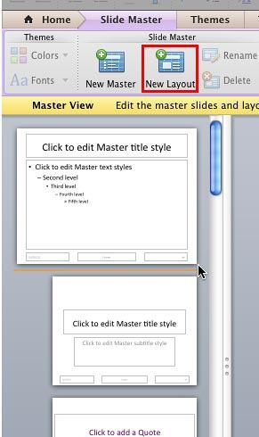New Slide Layout insertion point