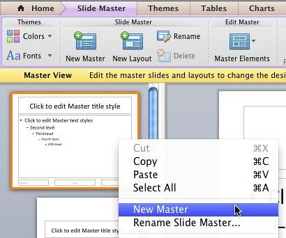 New Master option within the context menu