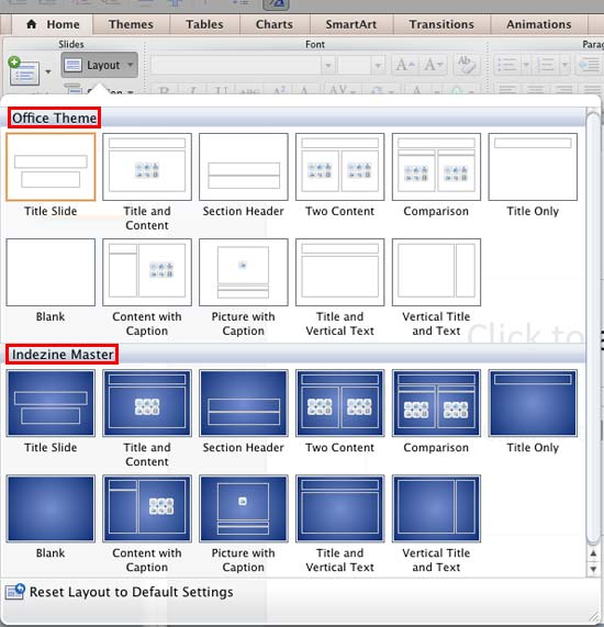 New Slide Master added shows within the Layout gallery