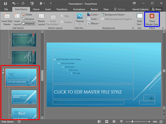 New Slide Master gets added along with the selected Theme applied