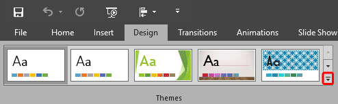 Themes group within the Design tab