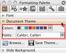 Document Theme pane: Colors and Fonts options