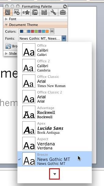 Theme Fonts gallery