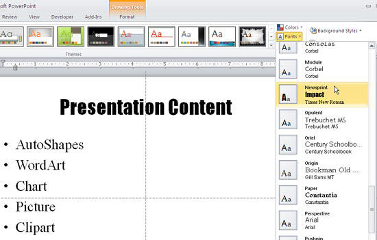 Choosing Theme Font sets