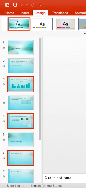 Three Slides selected within the Slides Pane