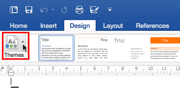 Themes button within Word 2016 for Mac