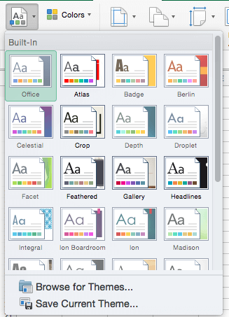 Themes drop-down gallery in Excel 2016 for Mac