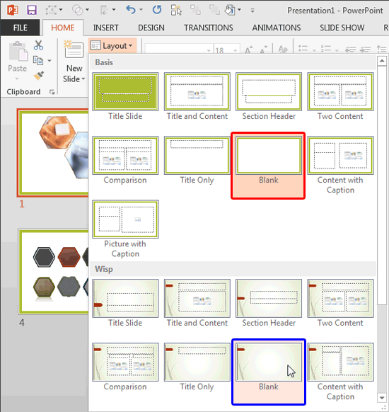 Layout drop-down gallery