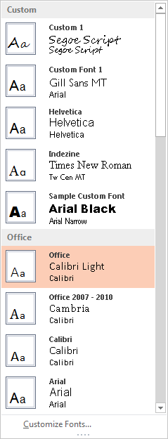 Fonts sub-gallery