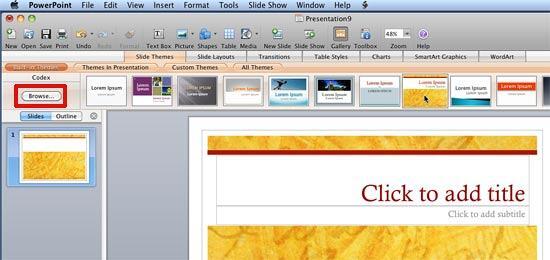 Theme applied to the presentation
