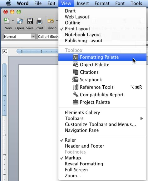 Formatting Palette Option in Word and Excel