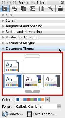 Themes gallery under Formatting Palette