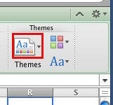 Themes group in Excel 2011