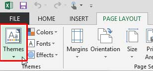 Themes button within Excel 2013