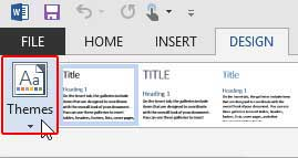 Themes button within Word 2013