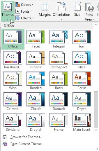Themes drop-down gallery in Excel 2013