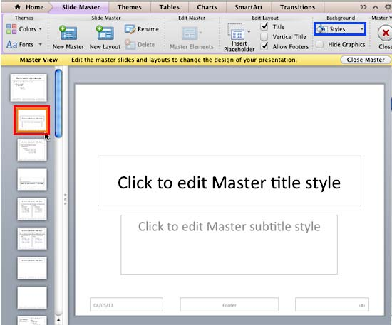 Styles button within Slide Master view