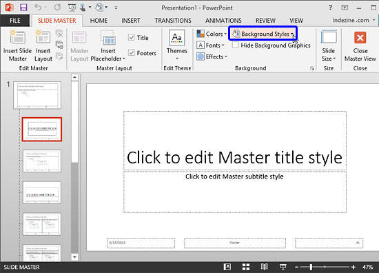 Background Styles button within Slide Master view