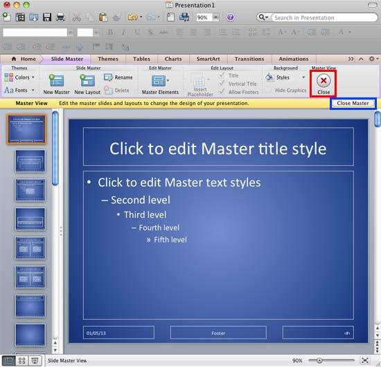 Background Style changed within the Slide Master view