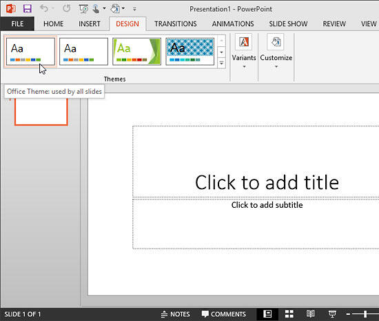 Blank presentation with Office Theme applied