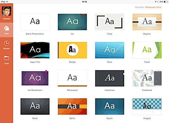 Tap on a Theme to create a new presentation