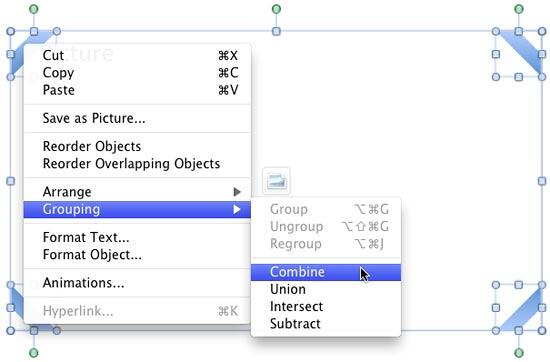 Combine option within Grouping sub-menu