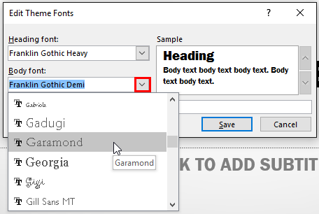 New Body font being selected