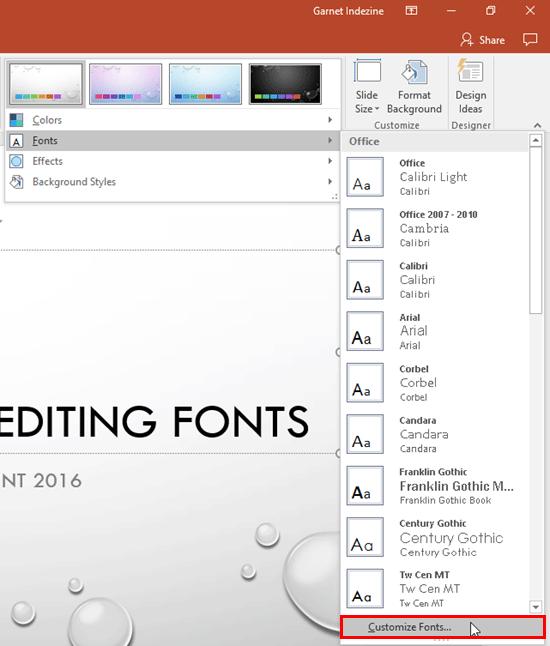 Customize Fonts option