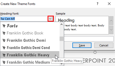 Select a font for Heading