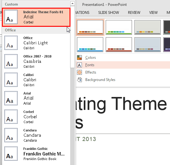 New Theme Font within the Font sub-gallery