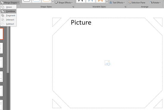 Combine option applied to the selected Picture placeholder and shapes