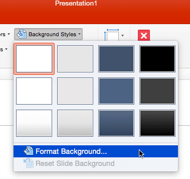 Background Styles drop-down gallery