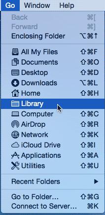 Press the Opt/Alt key when you access the Go menu
