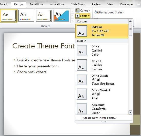 Custom Theme Fonts created