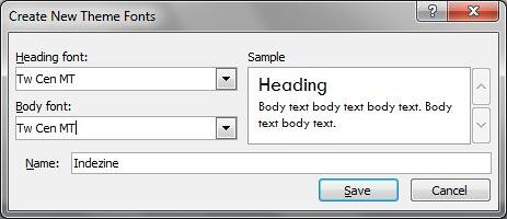 Custom Theme Fonts set ready to be saved