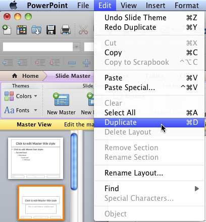 Duplicate option within Edit menu