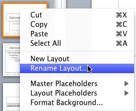 Rename Layout option within the context menu