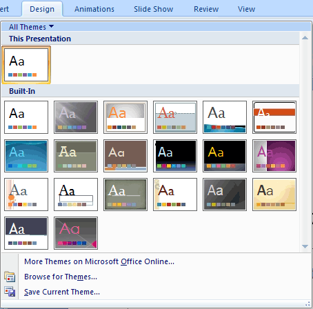 Themes drop-down gallery