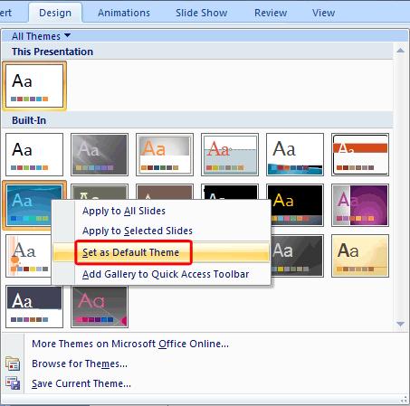 Set as Default Theme option