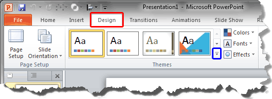 Design tab of the Ribbon
