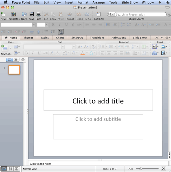 PowerPoint 2011 interface with a blank presentation