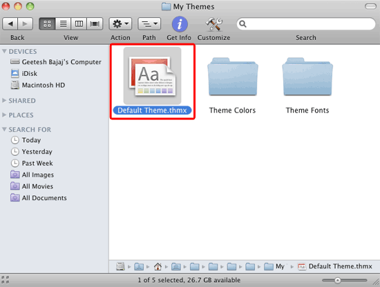 Default Theme file within the appropriate location