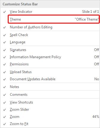 Customize Status Bar menu