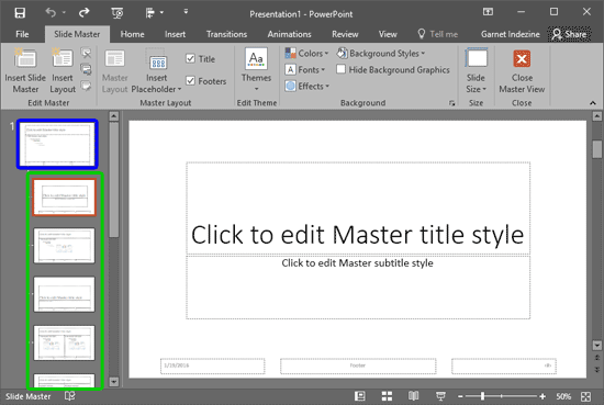 Slide Master and Slide Layouts within PowerPoint