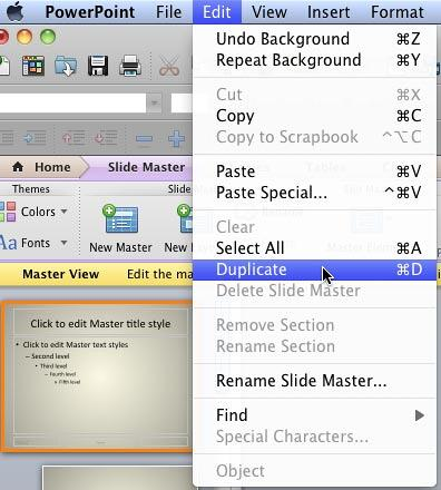 Duplicate option within the Edit menu